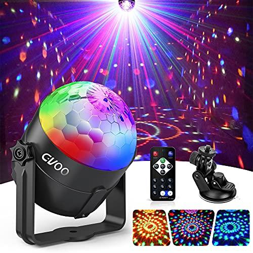 Lampe de Scène, Gvoo 3 Couleur Lumière Fête 5W Ampoules LED 7 RGB à Commande Sonore Mini Projecteur Boule Cristal Eclairage à Télécommande pour Cadeau Scène Fête Soirée DJ Disco Bars Clubs Karaoké