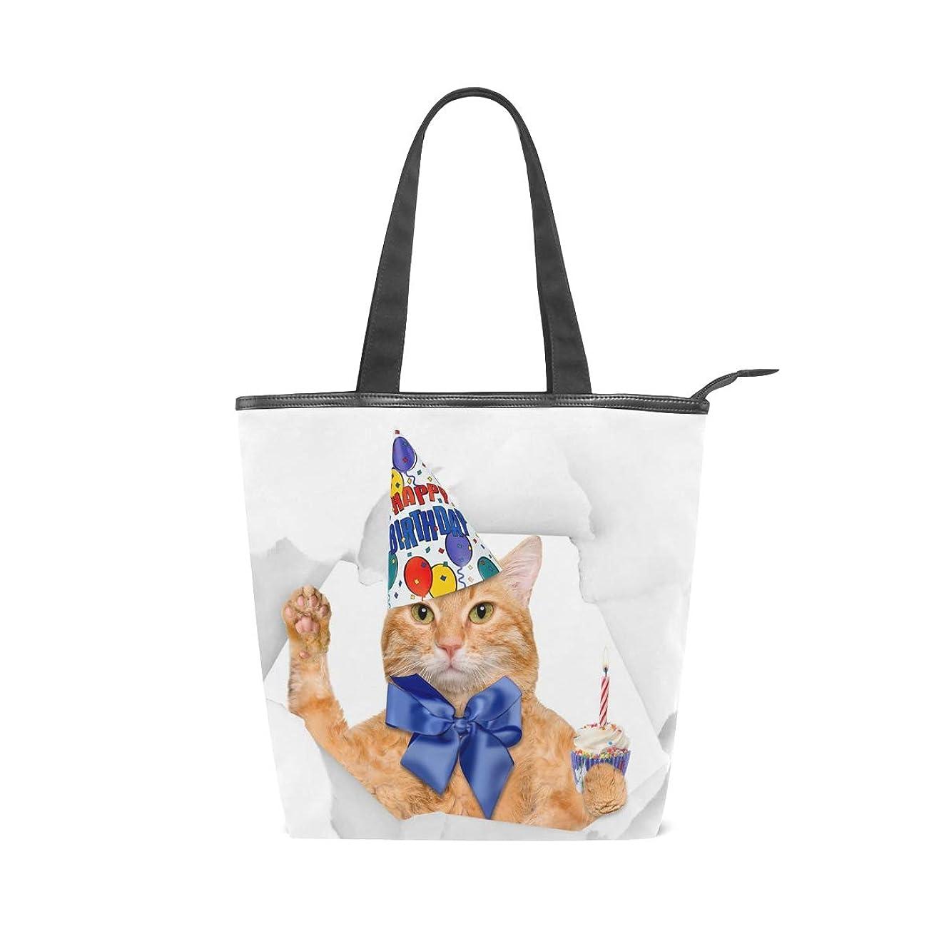 層祖母ソースキャンバス バッグ トートバッグ 多機能 多用途2way誕生日 猫柄 ネコ キャット ショルダー バッグ ハンドバッグ レディース 人気 可愛い 帆布 カジュアル 多機能 両用トートバッグ ァスナー付き ポケット付 Natax