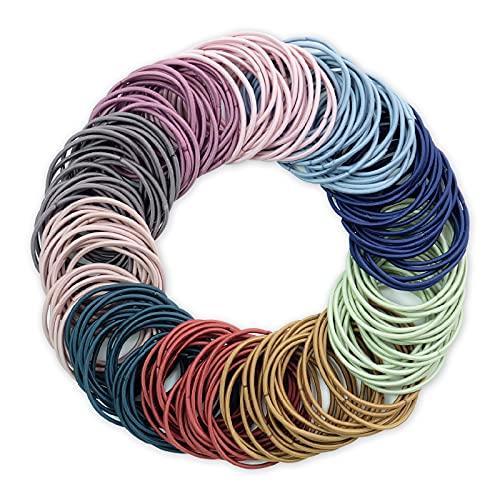 Hanyousheng Haargummis Mädchen, Ohne Metall Haargummis Mehrfarbig haarbänder, 200 Stück Haarbänder Elastisch Stirnband, 2 mm Elastisch Stirnband für Mädchen Mann Frauen