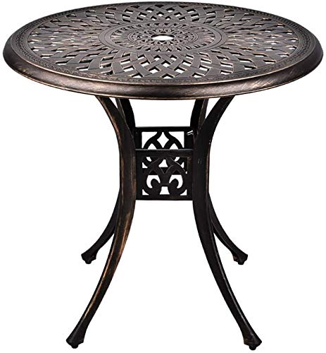 Round Cast Aluminum Dining Table, Outdoor Patio Retro Bistro Dining Table, Conversation Table with 2' Umbrella Hole,Outdoor Garden, Terrace, Terrace, Yard