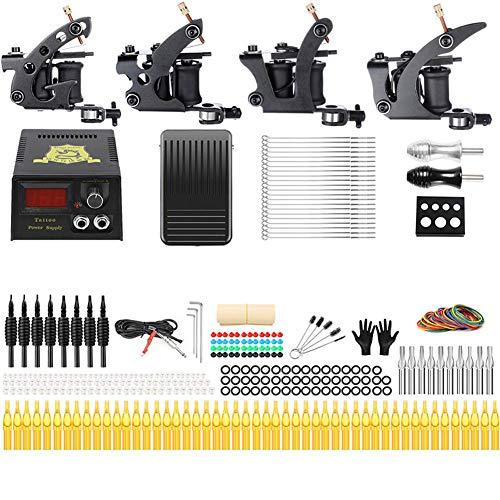 Anfänger-Tattoo-Maschinen-Set,for Linie, Shader, Schatten, Deutschem Motor, Komplettes Tattoo Werkzeug 4 Maschines + Power + Tattoo Nadel + Griff + Handschuhe + Gummiband + Tintenfass + Nadel Und Mehr