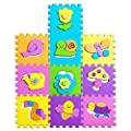 Non-Toxic Foam Play Mats for Kids - Original Learning Floor Puzzles for Boys & Girls - Safe Activity & No Smell-10 Interlocking Tiles: 12x12x0.4''/10 Sq.Ft.-Non-Slip Surface - eBook for Children