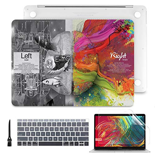 Batianda Laptop Case for MacBook Pro 13' 2019 2018 2017 2016 with Keyboard Cover Skin + Screen Protector + Cleaning Brush Bundle (Model:A2159 A1989 A1706 A1708, W/Without Touch Bar), Creative Brain