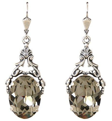 MANON de brécourt–Swarovski® Schwarz Diamant Kristall Ohrringe auf gemeißelter Silber Rahmen