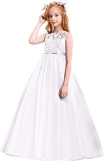 Big Girls Tulle Lace Princess Bowknot Dress Flower Girl Wedding Communion Evening Birthday Party Dress 4-14T