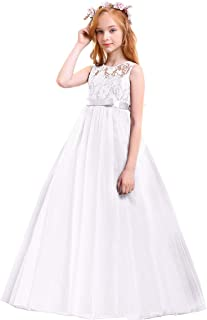 Girls Tulle Lace Flower Wedding Bridesmaid Dress Floor Length Princess Long A Line Pageant Formal Prom Dance Gown