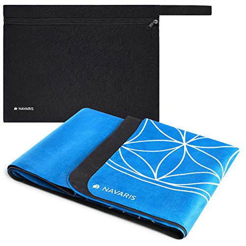 Navaris Foldable Yoga Mat for Travel - 15mm Thick Exercise Mat for Yoga, Pilates, Workout, Gym, Fitness - Non-Slip Folding Portable Mat - Blue