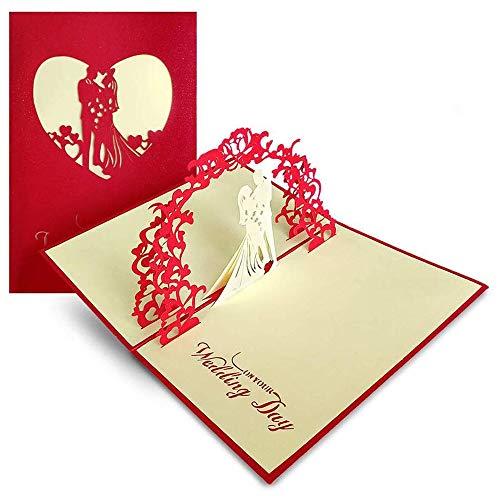 Carte mariage, carte de félicitations et invitation, 3D Pop Up Carte de voeux Enveloppe Carte Cadeau pour Couple Amoureux Marié Mariée pour un mariage, un anniversaire, la Saint-Valentin