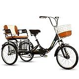 ZFF 20 Pulgadas Triciclo Adulto Plegable por Personas Mayores Cruiser Trike Bicicleta De Tres Ruedas...