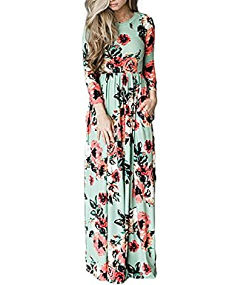 YUMDO Women's 3/4 Sleeve Floral Dress Casual Stretch Maxi Long Dresses