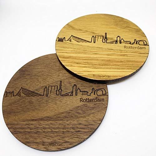 Skyline Onderzetters Rotterdam - Eiken en noten hout - 4 stuk(s) + houder - Ø 9 cm Rond - Cadeau - Woon decoratie - Woonkamer