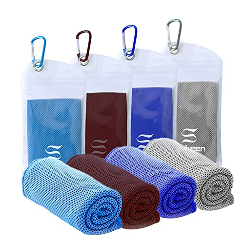 """[4 Pack] Cooling Towel (40""""x12""""),Ice Towel,Soft Breathable Chilly Towel,Microfiber Towel for Yoga,Sport,Running,Gym,Workout,Camping,Fitness,Workout & More Activities(Dark Blue/Gray/Brown/Blue)"""