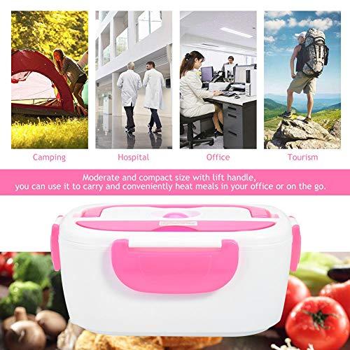 Fiambrera eléctrica con calefacción para contenedores Fiambrera eléctrica Fiambrera con calefacción para coches Fiambrera con calefacción no tóxica Fiambrera portátil(Pink)