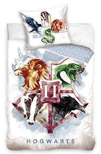 Carbotex - HP195017-1 - Harry Potter Set Letto Stemma 4 Case Animali Copripiumino e Federa Originale Cotone - Multicolore - 140x200 Centimetri e Federa 65x65cm