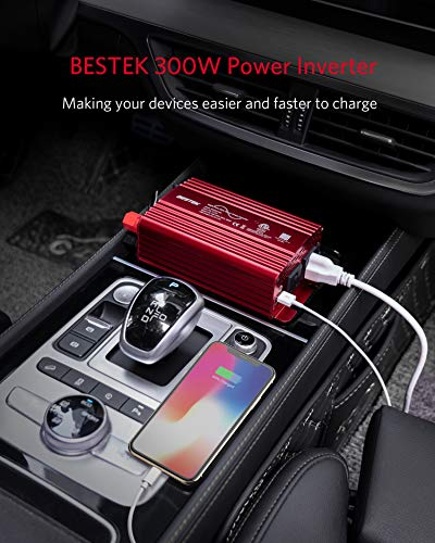 BESTEK 300Watt Pure Sine Wave Power Inverter DC 12V to AC 110V Car Plug Inverter Adapter Power Converter with 4.2A Dual USB Charging Ports and 2 AC Outlets Car Charger, ETL Listed