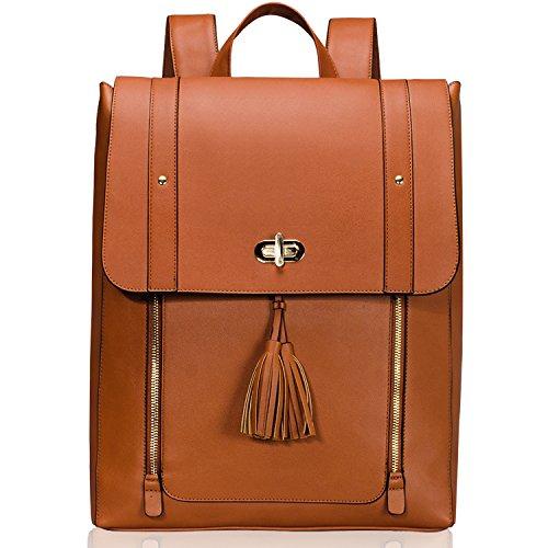 Estarer Women PU Leather Backpack 15.6inch Laptop Vintage College School Rucksack Bag(brown)