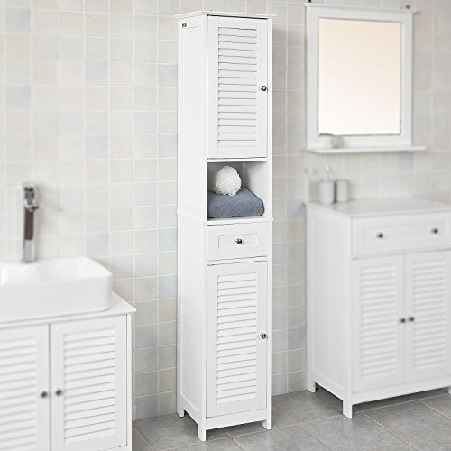 Haotian White Floor Standing Tall Bathroom Storage Cabinet with Shelves and Drawers,Linen Tower Bath Cabinet, Cabinet with Shelf,FRG236-W