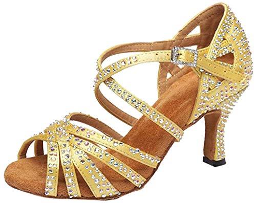 MGM-Joymod Damen Peep Toe Cross Strap Strass Social Tango Ballsaal Latin Modern Tanzschuhe Hochzeit Party Sandalen, Gelb - Gelb 7 cm Absatz - Größe: 37.5 EU