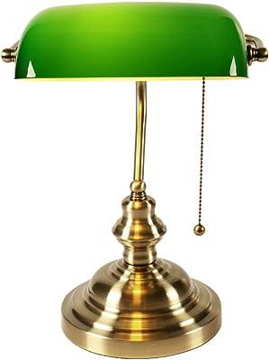LM1 - Lámpara ministerial de mesa que se enciende a través de una cadena - Estilo americano con diseño de latón brillante + cristal verde - Dimensiones: 37 (altura) x 26 (anchura)