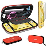 Carrying Case for Nintendo Switch Lite with 2 Pack Screen Protector, iVoler Ultra Slim Portable Hard Shell Pouch Travel Game Bag for Switch Lite Console Accessories Holds 10 Game Cards,Red & White