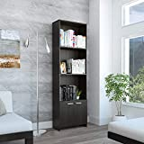 TUHOME Lisa Bookcase with 3 Shelves and a 2 Door Cabinet for Storage 70in Tall Modern and Stylish Espresso Finish, Easy to Assemble