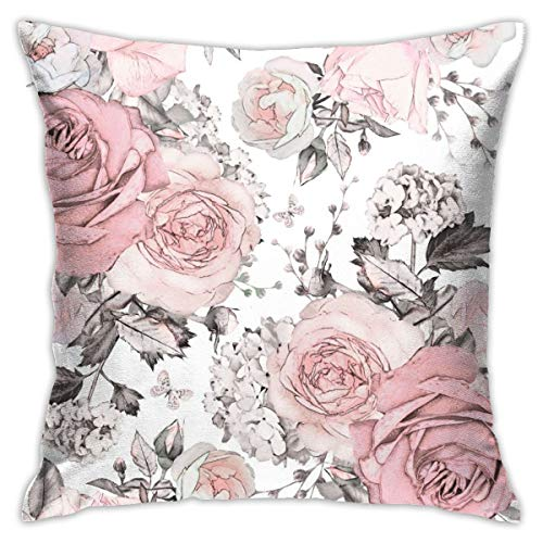 Yaateeh Pink Flowers Leaves Watercolor Floral Rose Throw Pillow Covers Decorative 18x18 Inch Pillowcase Square Cushion Cases for Home Sofa Bedroom Livingroom