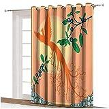 Cortinas opacas para puerta de patio con diseño de pájaros voladores, diseño de pájaro fénix que vuelan sobre el sol, hojas de uva mágicas temeras artprint térmica, panel individual 100 x 108 i
