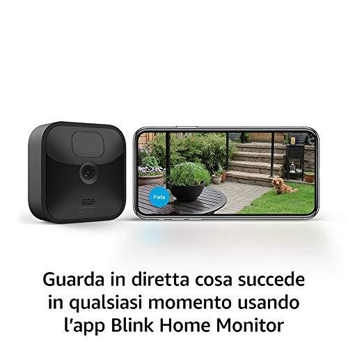 Nuova Blink Outdoor, Videocamera di sicurezza in HD, senza fili, resistente alle intemperie, batteria autonomia 2 anni, rilevazione movimento, prova gratuita del Blink Subscription Plan  3 videocamere