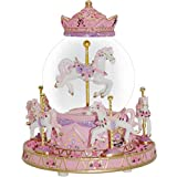 WOOYAN Carousel Music Box for Girls - Plays You are My Sunshine Color Change Rotating 6-Horse Carousel Horse Music Box Children's Day Gift (Pink,6-Horse)