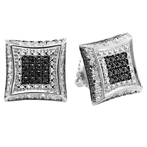 Dazzlingrock Collection 0.15 Carat (ctw) Round White & Black Diamond Micro Pave Setting Kite Shape Stud Earrings, Sterling Silver