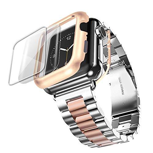 DYH&PW Correa de acero inoxidable compatible con Apple Watch Band 44 mm/40 mm, compatible con iWatch Band 42 mm/38 mm, correa de reloj compatible con Apple Watch Series, plata oro rosa, 40 mm