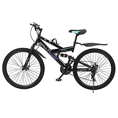 26in Carbon Steel Mountain Bike Shimanos21 Speed Bicycle Full Suspension MTB, Mountain Bikes, Bikes for Men and Women(Stock in US)