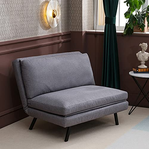 Convertible Sofa Bed, Folding Armless Sleeper Chairs, Lazy Floor Chair, 5 Adjustable Position, Adjustable Backrest, Polyester, Grey