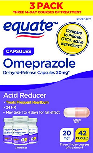Equate Acid Reducer Omeprazole Capsules 20 mg 42 Count 3 Pack x 2 Total 84 Count