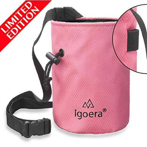 Igoera Chalkbag, Magnesiabeutel Goian (rosa)   zum Klettern und Bouldern   inklusive Befestigungsgurt   Boulderbag/Magnesiatasche ist aus sehr stabilen Material und staubdicht