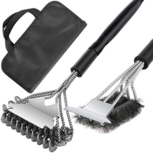"""Grill Brush and Scraper 2 Pack 18"""" BBQ Cleaning Brush Safe Stainless Steel Helix & Wire Bristles Replace Handle Grilling Accessories Cleaner for Weber Gas/Charcoal Porcelain/Ceramic/Iron Grill Grates"""