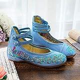 RHH Shop Zapatos planos para mujer hechos a mano, con lentejuelas de pavo real, suela suave, informales, tela de algodón, color azul, talla: 37 EU