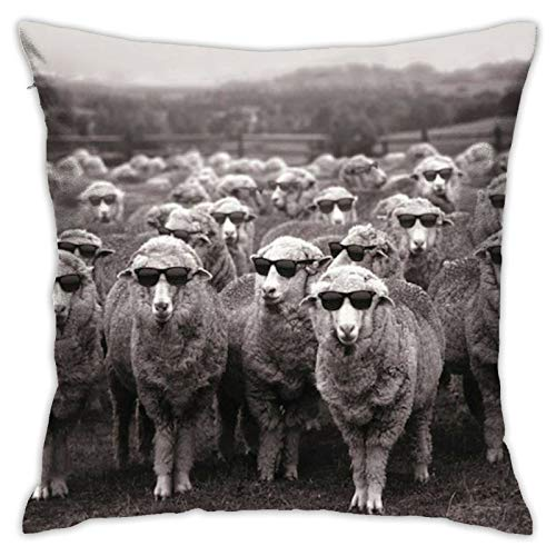 QUEMIN Fundas de almohada para gafas, ovejas, almohada para decoración del hogar, sofá, cama, coche, 45,7 x 45,7 cm