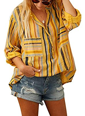 Sidefeel Women Roll-up Sleeve Blouse Stripes Loose Fitting Tunic Shirt Tops X-Large Yellow