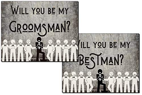 Will You Be My Groomsman? Will You Be My Best Man? Proposal Cards with Envelopes 10 pack | Groomsmen, Wedding Party Proposal Rustic Dark Grey Vintage Premium Card stock Groomsmen Gifts