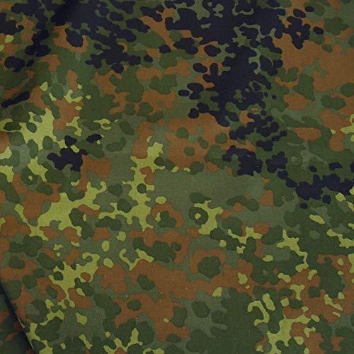 TOLKO Camouflage Stoff aus Nylon | Farbecht, Reißfest und UV-beständig | Popeline Meterware im Armee Flecktarn der Bundeswehr | leicht 150cm breit (Bundeswehr leicht)