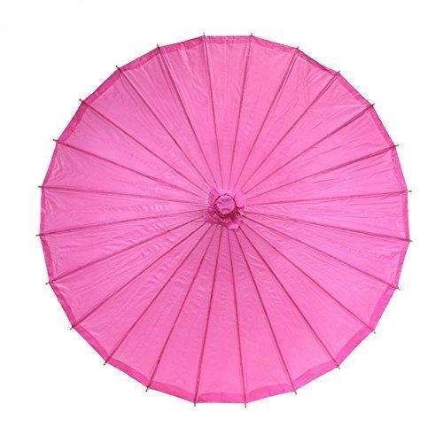 ANKKO Chinesischen Japanischen Stil Bambus Sonnenschirm Tanzen Regenschirme (Leuchtend Rosa)