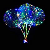 DANIDEER Led BoBo Balloons Colorful, 18 Inch 8 PCS Transparent Bubble Balloons with STICKS and STRING LIGHTS 3 levels Flashing , Light up Balloons plus BONUS PUMP for Birthday, Wedding, Christmas and Party Decoration