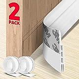 Holikme 2 Pack Door Draft Stopper Under Door Draft Blocker Insulator Door Sweep Weather Stripping Noise Stopper Strong Adhesive 39' Length(White)