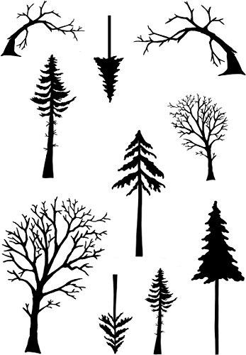 Card-io Mini hoge bomen duidelijk stempel set, synthetisch materiaal, 16 x 8.4 x 0.4 cm