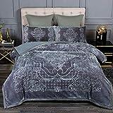JML Sherpa Fleece Blanket King Size , 3- Pieces Fleece Blanket - Super Soft Warm, Korean Style Mink Embossed Winter Bed Blanket, Grey (79'x 91')