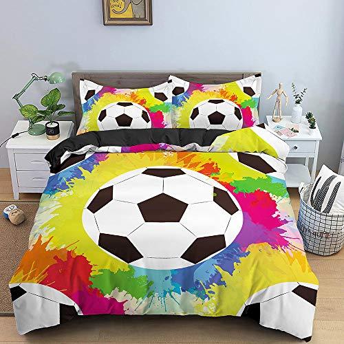 HGFHGD Wasserfarben-3D-Digital-Fußball-Bettwäsche-Set für Kinder und Erwachsene, Bettbezug, dreiteilig, für große Trompete