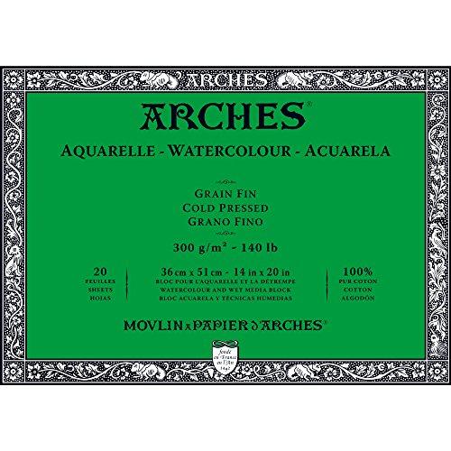 Unbekannt Arches–Bloc para Acuarelas, Madera, Color Blanco, Madera, weiß, 51 x 36 x 1 cm