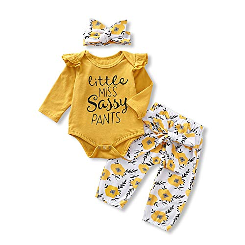 Toddler Girl Clothes Cute Baby Fall Winter Outfits Long Sleeve Ruffle Top+Pants 3 PCS Cute 12-18 Months Girl Outfits Yellow