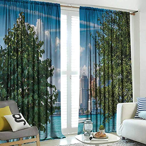 hengshu Detroit Decor, Black Out Curtains for Bedroom, Detroit Sightseeing on Summer Afternoon Modern Architecture River Boat, Culture Print Bedroom Curtains Decor, Green Blue Aqua, W96 x L96 Inch,